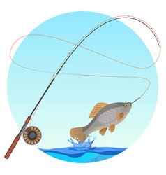 Fishing rod with caught fish on hook vector