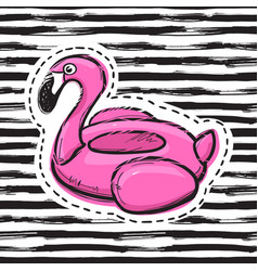 Flamingo swim ring pool float inflatable pink vector