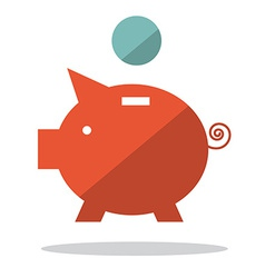 Flat Design Pig Bank with Coin vector