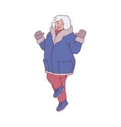 flat sketch woman winter clothing fun vector image