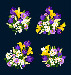 flower bouquet icon of floral greeting card design vector image