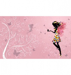 flower fairy near patterned wood vector image vector image