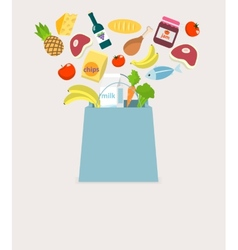 Food elements bag vector