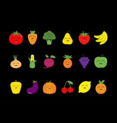 fruit berry vegetable face icon set strawberry vector image