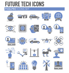 Future technologies icons set on white background vector