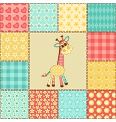 Giraffe patchwork pattern vector image