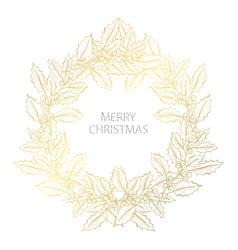 golden christmas wreath vector image