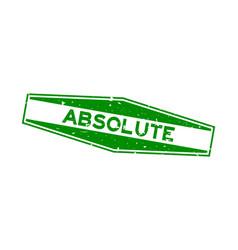 Grunge green absolute word hexagon rubber seal vector