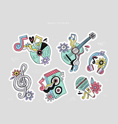 hippie music doodle stickers set vector image