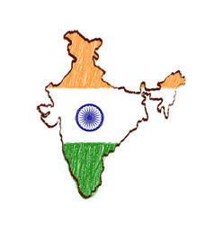 India map and flag in sketch hand drawn vector