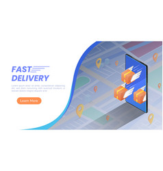 isometric web banner parcels box with wings vector image