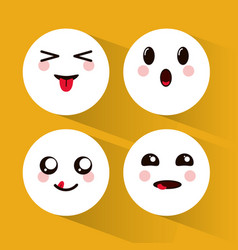 Kawaii emoji faces collection vector