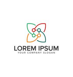 leaf line logo design concept template vector image