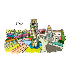 leaning tower pisa italy sketch for your vector image