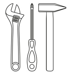 Line art black and white simple toolkit set vector