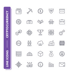 line icons set cryptocurrency vector image