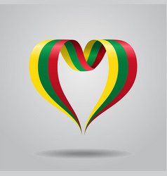 lithuanian flag heart-shaped ribbon vector image vector image