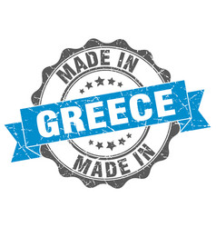 Made in greece round seal vector