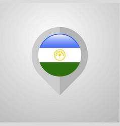 Map navigation pointer with bashkortostan flag vector