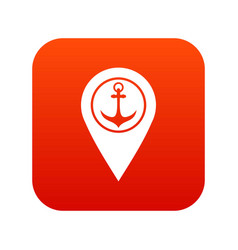 map pointer with symbol anchor and sea port icon vector image