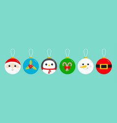 merry christmas ball toy hanging icon set santa vector image