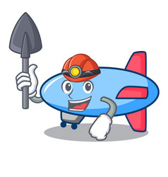 Miner zeppelin mascot cartoon style vector