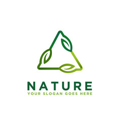 modern triangle leaf nature logo icon template vector image