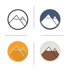 Mountain flat design linear and color icons set vector image