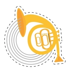 Musical instrument french horn icon dotted line vector