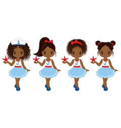 nautical little african american girls vector image vector image