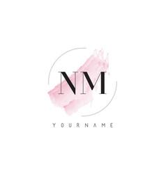Nm n m watercolor letter logo design vector