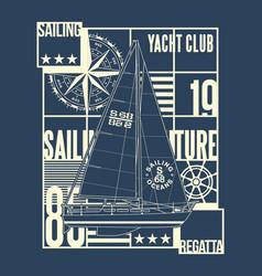 ocean yacht club sailing regatta vector image