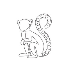 One single line drawing cute funny sitting vector
