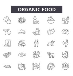 organic food line icons signs set linear vector image