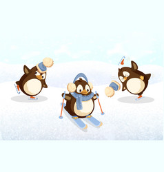 penguins on skates and skis outdoor activity vector image