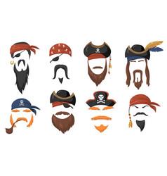 Pirate face masks for carnival flat item set vector