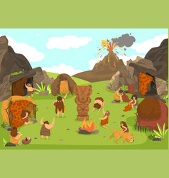 Prehistoric primitive people settlement stone age vector