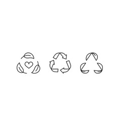 recycle plant leaf line icon set isolated concept vector image