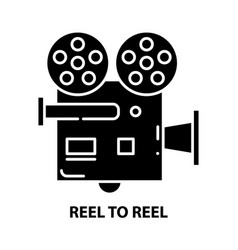 Reel to reel icon black sign with editable vector