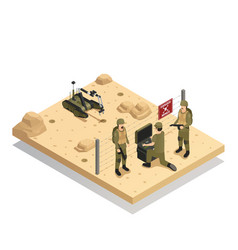Robots sapper isometric composition vector