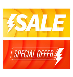 sale color special offer banners with flash symbol vector image