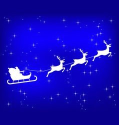santa claus riding reindeer on a blue shiny vector image