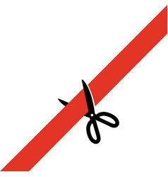 Scissors cut the red tape simply schematically vector