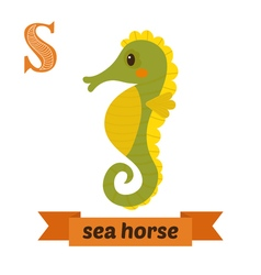 Sea horse S letter Cute children animal alphabet vector image