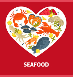 seafood menu fish and lobster or crab and oysters vector image