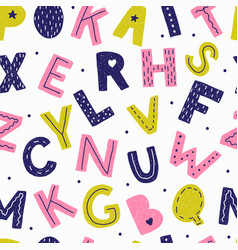 Seamless pattern with letters in doodle style vector