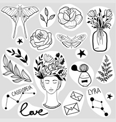 Set black and white stickers vector