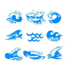 Set blue water sea or ocean waves and splashing vector