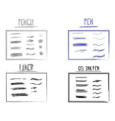 set hand drawn doodle sketchy grunge gel ink vector image