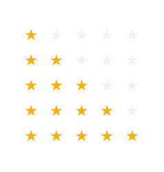 set of yellow rating stars vector image